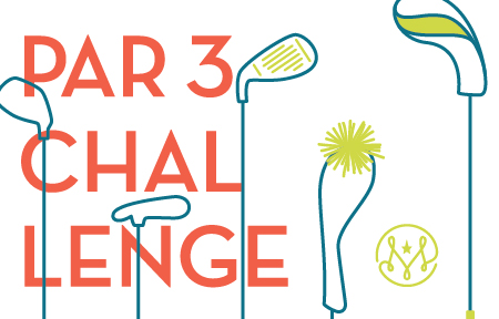 Artwork with golf clubs and text that reads Par 3 Challenge