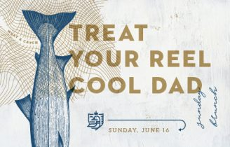 Artwork of blue fish tail and block letters in gold that reads TREAT YOUR REEL COOL DAD