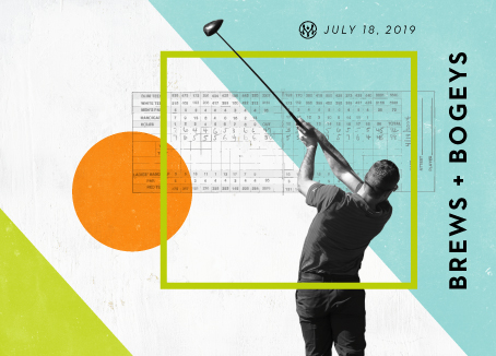 Man swinging a golf club with score card in the background and text that reads Brews & Bogeys