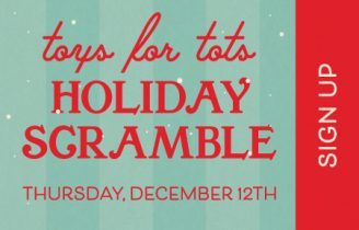 Green and red artwork with text that reads Toys for Tots Holiday Scramble
