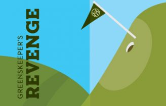 Artwork of golf green with flag and text that reads Greenskeeper's Revenge