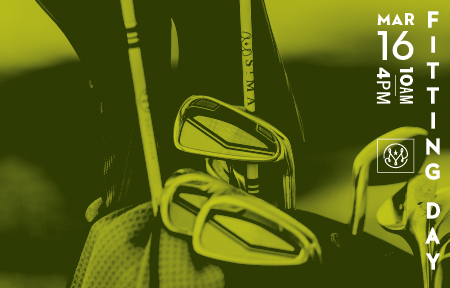 Photo of golf clubs in bag with green overlay and text that reads Fitting Day