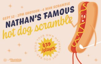 Artwork of a hot dog holding a golf club with text that reads Nathan's Famous Hot Dog Scramble